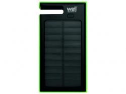 Acumulator USB portabil powerbank solar 4000mAh 2.0A negru/verde Well; Cod EAN: 5948636031331
