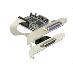 Adaptor Delock PCI Express x1 - 2 x parallel DB25 female