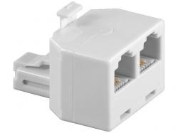 Adaptor modular 6P4C RJ11 tata la 2 x RJ11 mama, alb M-FF-WE-BU