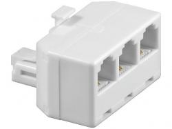 Adaptor modular 6P4C RJ11 tata la 3 x RJ11 mama, alb M-FFF-WE-BU