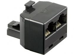 Adaptor UTP, ISDN 8P8C RJ45 tata la 2 x RJ45 mama, negru M-FF-BK-BU