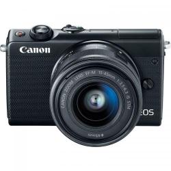 Aparat foto Mirrorless Canon EOS M100, 24.2MP, Black + Obiectiv EF-S 15-45 IS STM