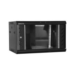 Cabinet Rack DATEUP 6U 600x450, dezasamblat, montare pe perete, usa din sticla, panouri laterale detasabile si securizate, negru RAL9004, MP.6406.9001