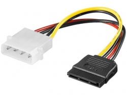 Cablu adaptor alimentare Molex 4 pini 5.25 tata la SATA mama, 13cm SATA-PW4-BU