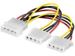 Cablu adaptor Y de alimentare Molex 0.13m 5.25 tata la 2 x 5.25 mama S01/0,13-BU