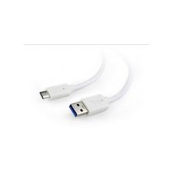 Cablu de date Gembird CCP-USB3-AMCM-1M-W, USB 3.0 - USB-C, 1m, White