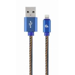 Cablu de date Gembird Denim, USB - Lightning 1m, Blue