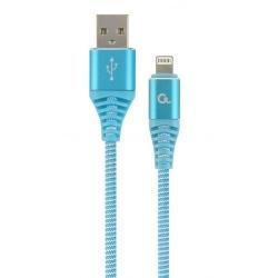 Cablu de date Gembird Premium Cotton Braided, USB - Lightning, 1m, Turquoise-White