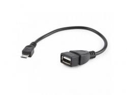 Cablu OTG Gembird, 1x USB 2.0 female - 1x microUSB male, 0.15m, Black