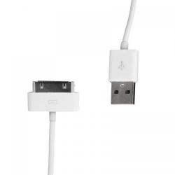 Cablu USB 2.0 4World pentru iPad/iPhone/iPod transfer/incarcare OEM, 1.0m, alb