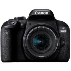 Camera Foto Canon DSLR 800D, 24.2MP, Black + Obiectiv EF-S 18-55 IS