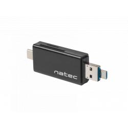 Card Reader Natec Genesis Earwig, USB 2.0 - USB-C, Black
