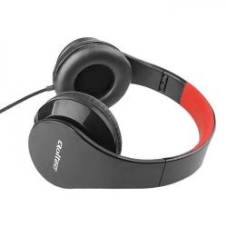 Casti cu microfon Qoltec 50812, Pliabile, Cablu plat 1.2m, Black - Red