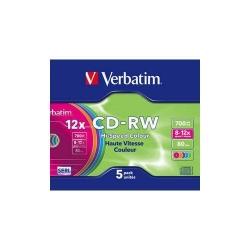 CD-RW Verbatim 12x, 700MB, 5buc, Jewel Case