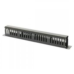 Ghidaj patchcord-uri metalic cu capac, organizator de cabluri rack 1U, negru 9801130601