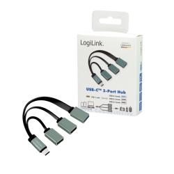 Hub USB Logilink, 3x USB-C, Black