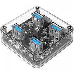 Hub USB Orico MH4U, 4xUSB 3.0, Transparent