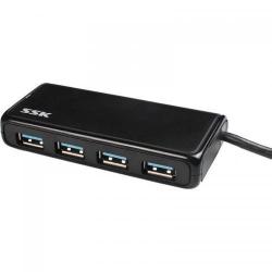 Hub USB SSK SHU802, 4x USB 3.0, Black