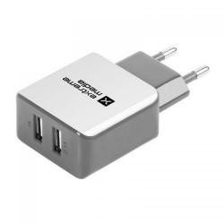 Incarcator retea Natec NUC-0996, 2x USB, 2.1A, Silver