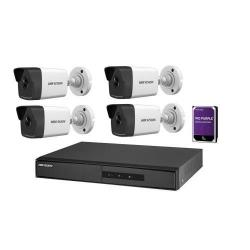 Kit Camere de supraveghere NVR Hikvision DS-7104NI-Q1/4P/M + 4 Camere IP Bullet DS-2CD1023G0E-I + 1 HDD 1TB WD