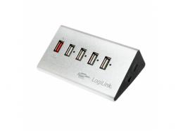 Hub USB Logilink High Speed, 5x USB 2.0, White