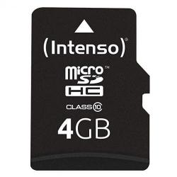Memory Card Intenso MicroSDHC, 4GB, Clasa 10 + Adaptor SD
