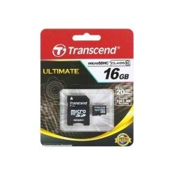 Memory Card Transcend microSDHC 16GB, class 10 + Adaptor SecureDigital