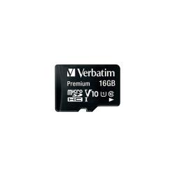 Memory Card Verbatim Micro SDHC 16GB, CLASA 10 + Adaptor SD