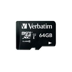 Memory Card Verbatim microSDHC 64GB, Clasa 10 + Adaptor SD