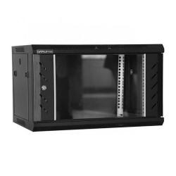 Rack 6U 600x450, montare pe perete, usa din sticla, panouri laterale detasabile si securizate , asamblat, culoare negru RAL 9004, DATEUP