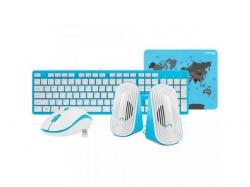 Kit Wireless Natec Tetra - Tastatura, USB, White-Blue + Mouse Optic, USB, White-Blue + Boxe stereo 2.0, 6W, jack 3.5mm, White-Blue + Mouse Pad, Blue-Grey