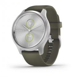 Smartwatch Garmin Vivomove Style, 1.2inch, Curea silicon, Silver-Green
