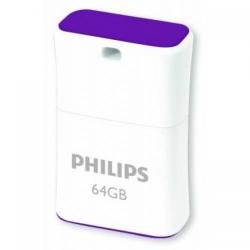Stick Memorie Philips Pico Edition, 64GB, USB 2.0, Purple-White