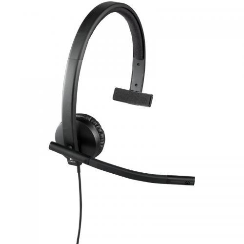 Casti cu microfon Logitech H570e Mono, Black
