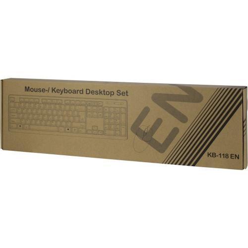 Kit Inter-Tech KB-118EN - Tastatura, USB, Black + Mouse Optic, USB, Black