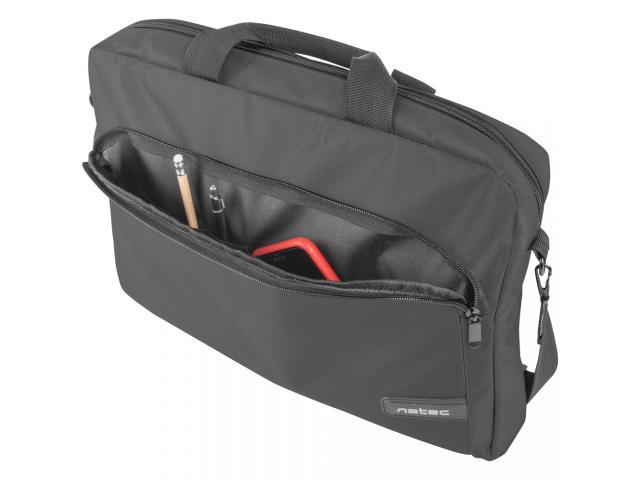 Kit Natec - Geanta Wallaroo pentru laptop de 15.6inch, Black + Mouse Wireless, USB, Black